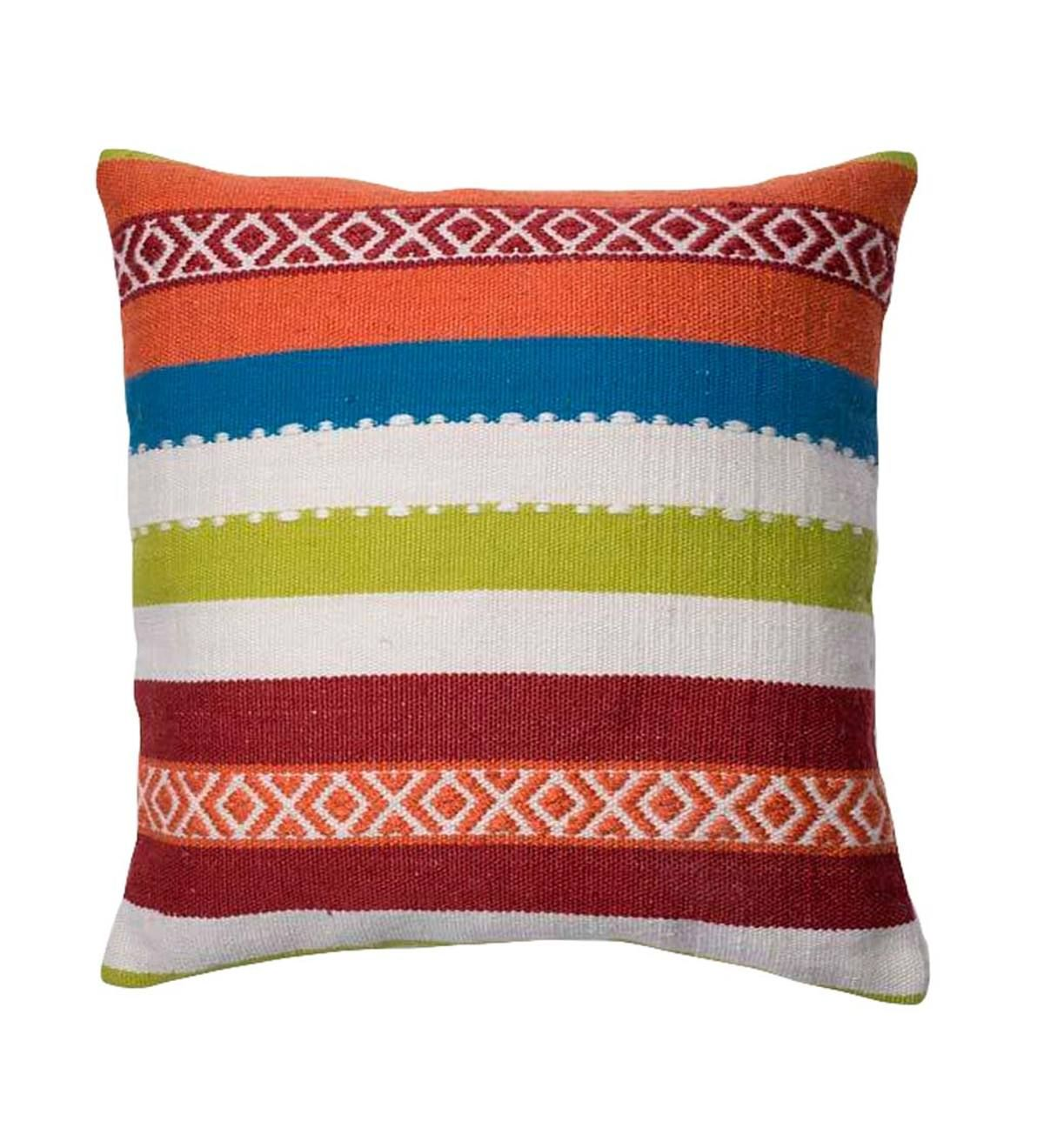 This Perfectly Colorful Throw Pillow It Can Also Serve As A Floor Pillow If Need Be Is Done In An Vibrant Stripe Loloi Pillows Colorful Throw Pillows Pillows