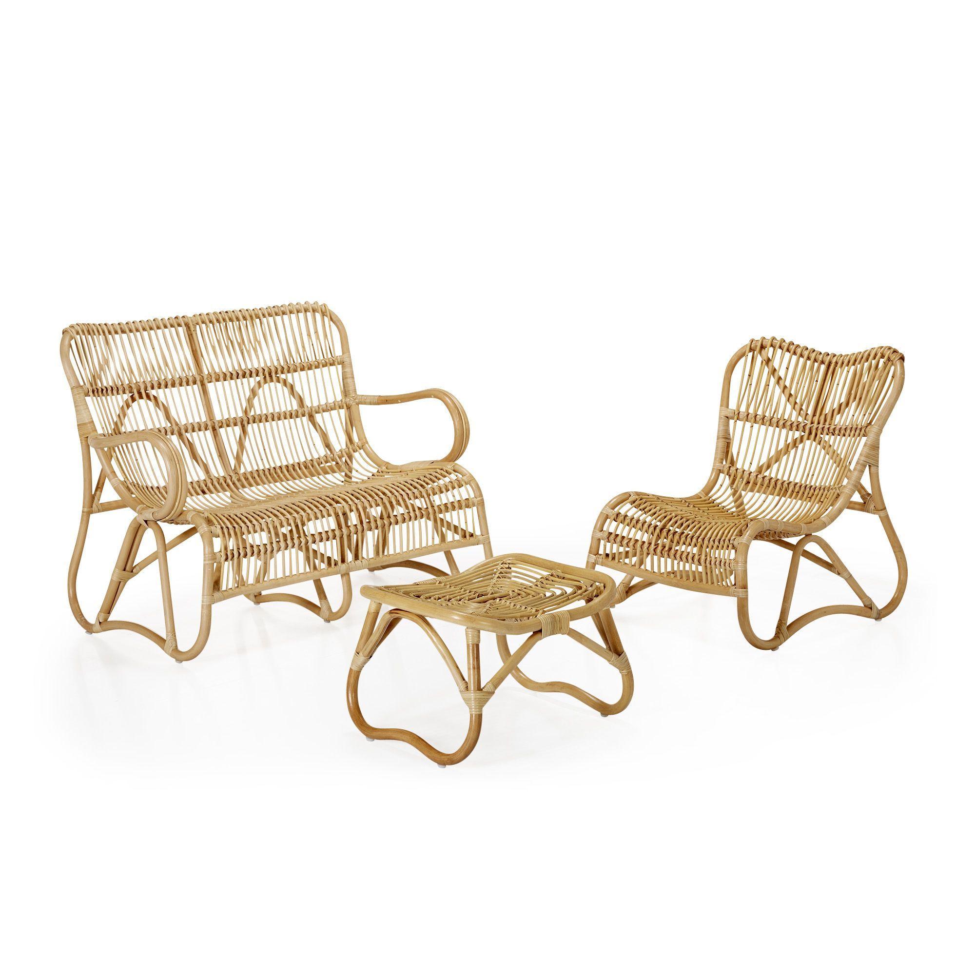Salon de jardin rétro en rotin style vintage | Outdoor ...