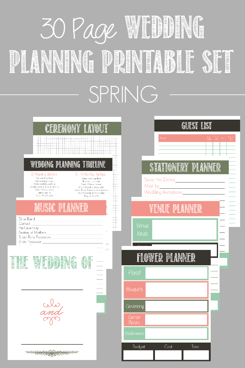 Page Wedding Planning Printable Set Available In  Color