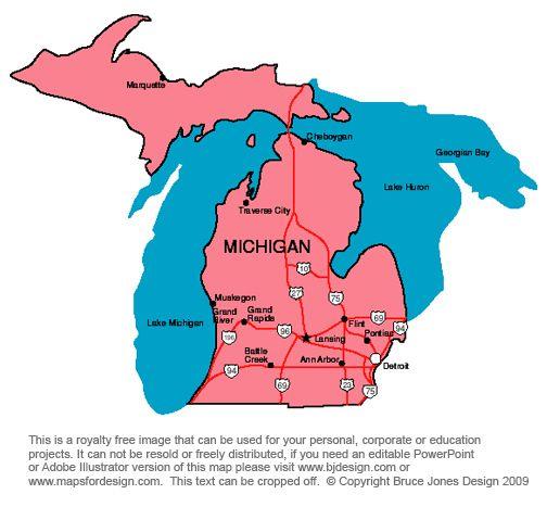 Michigan Lansing royalty free jpg map jeux et activits voyage