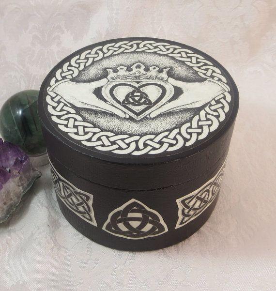 celtic claddagh round box wedding handfasting ring bearer box wicca pagan medieval jewelry box