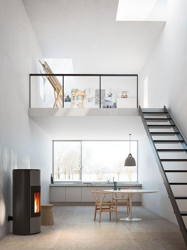 MCZ Halo - Pelletkachels Ter Aar in een stijlvolle woonkamer met ...