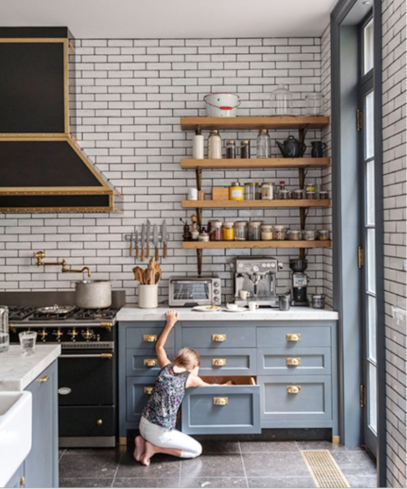 5 Things We Can Learn From This Dreamy Luxe Kitchen U2014 Kitchen Design  Lessons   Grey Cabinets, Brass Hardware, Marble Counter Tops And Subway  Tile With Dark ...