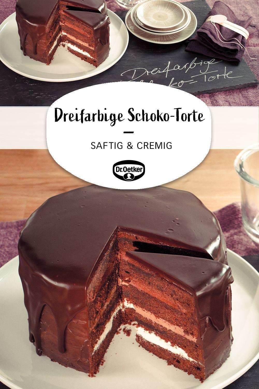 Dreifarbige Schoko-Torte