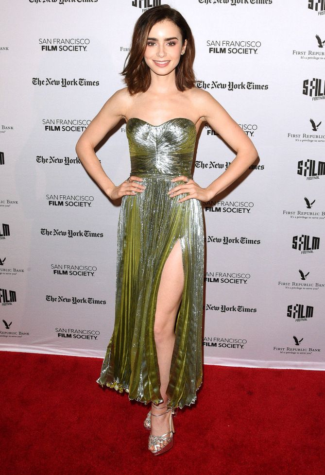 Lily Collins in a strapless metallic dress
