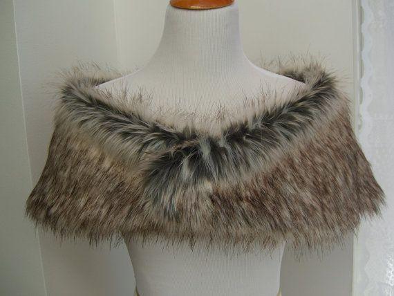 1b6392477 Faux Fur Shrug, Gray/Brown Wolf Faux Fur Shawl, Fur Stole, Wedding Shoulder  Wrap $40