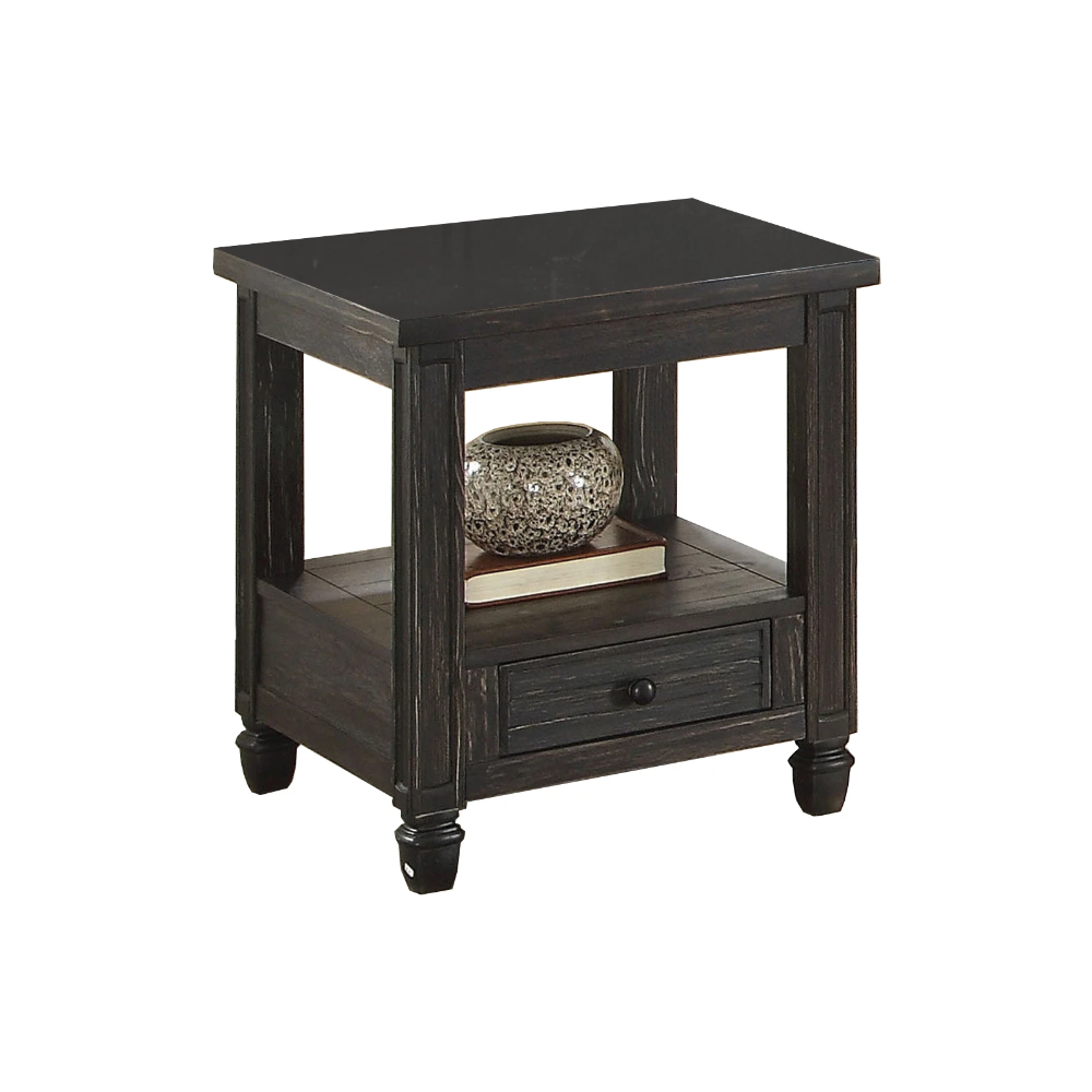 Wooden End Table With Drawer And Open Shelf Distressed Black