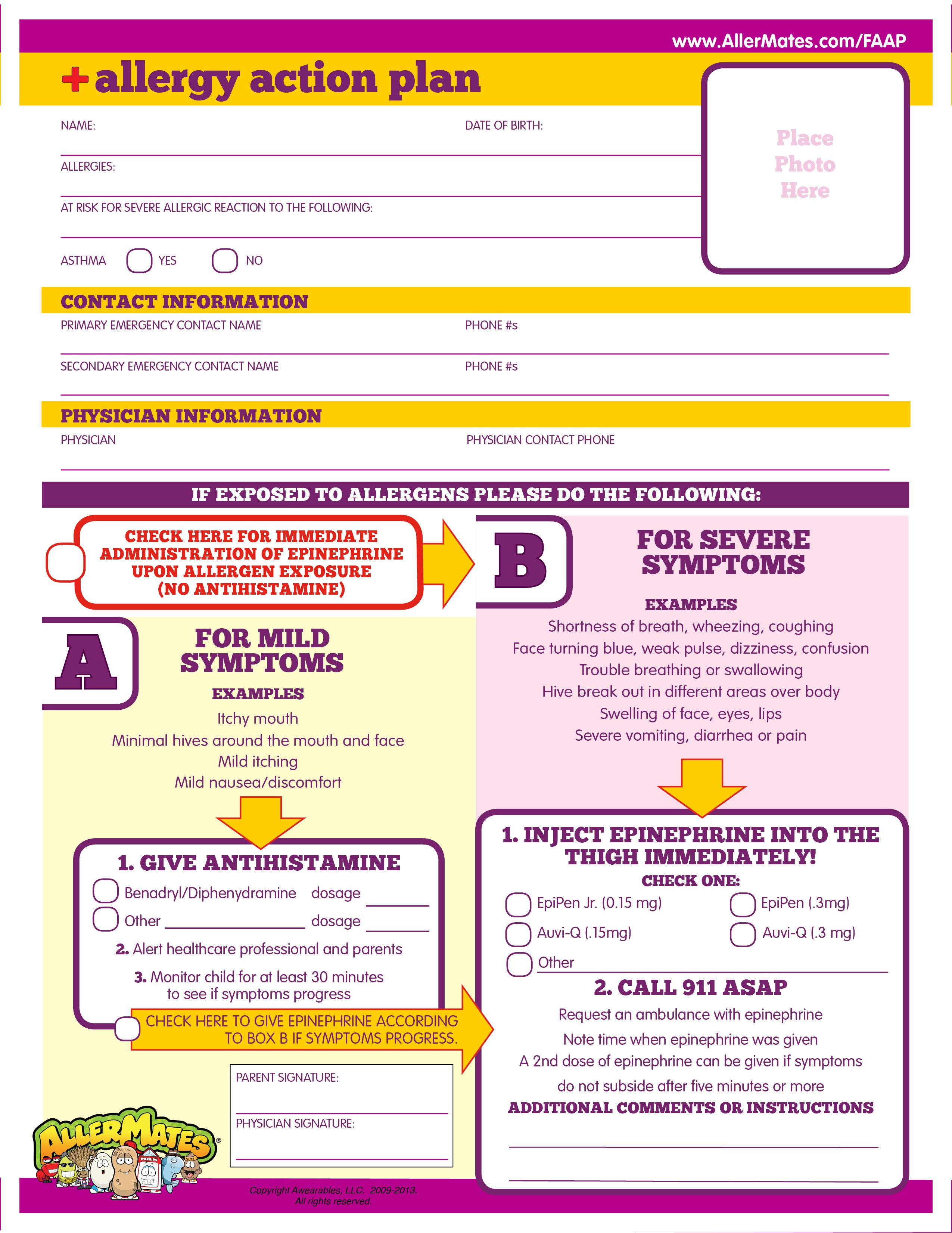 Printable fill-in form for how to emergency medicate kids with ...