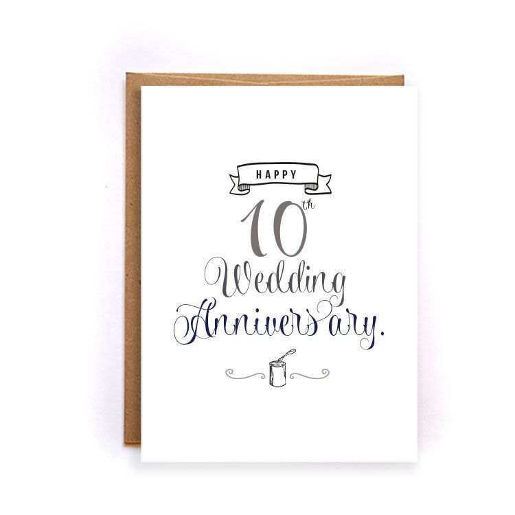 10th Anniversary Cards For Her Tin Card Cute Handmade Greeting Husband