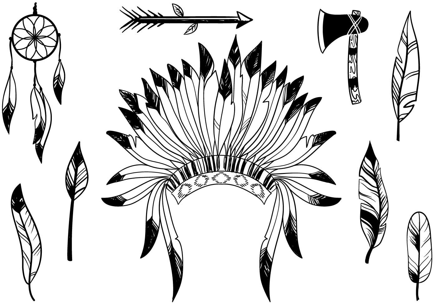 Set of free Native American vectors that include Indian