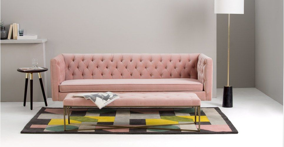 Julianne 3 Seater Sofa, Blush Pink Cotton Velvet from Made.com ...