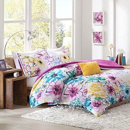 Color floral kingcal king comforter set blue pink vibrant flowers color floral kingcal king comforter set blue pink vibrant flowers mightylinksfo