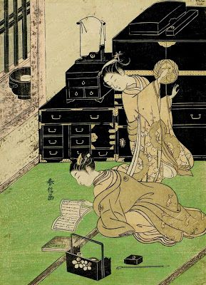 Harunobu, Suzuki (1725-1770) Two women by a lacquer cabinet, one reading a book