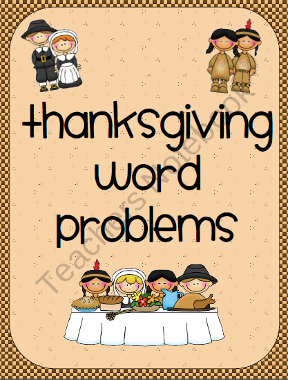Thanksgiving Math Word Problems product from MsThird