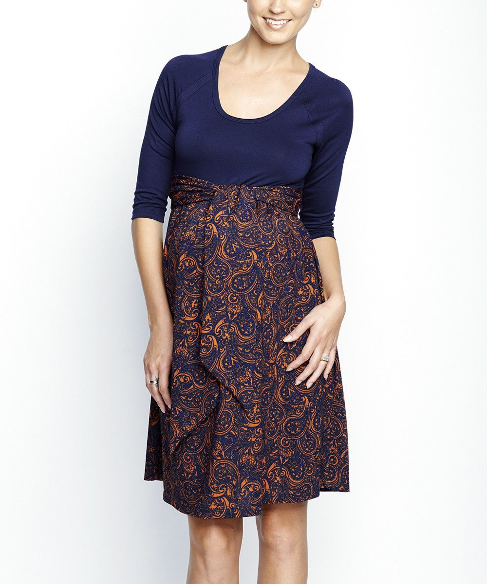 edd86458513 Take a look at this Navy   Rust Paisley Front Tie Maternity Scoop Neck Dress  on zulily today!
