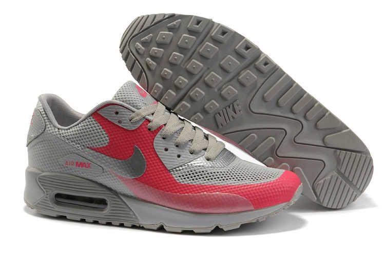 Nike Air Max 90 Hyperfuse Premium (HYP PRM) Men Newest Grey Red #454446 016