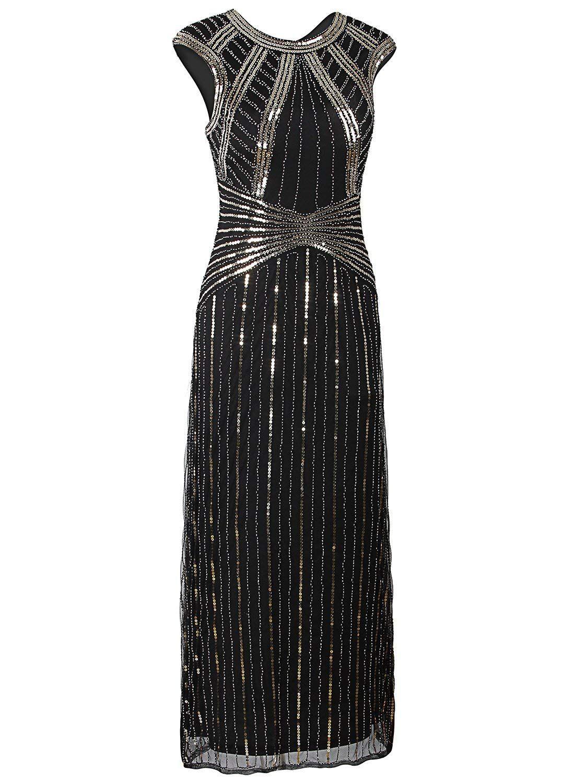 f50244787137 Vijiv 1920s Long Prom Dresses Cap Sleeve Beaded Sequin Maxi Evening Party  Dress at Amazon Women's Clothing store: