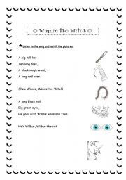 English worksheet: Winnie the witch´s song (match the pictures ...