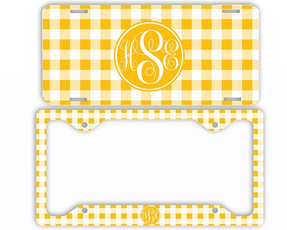 Yellow Gingham Monogrammed License Plate Car Front Tag Frame ...