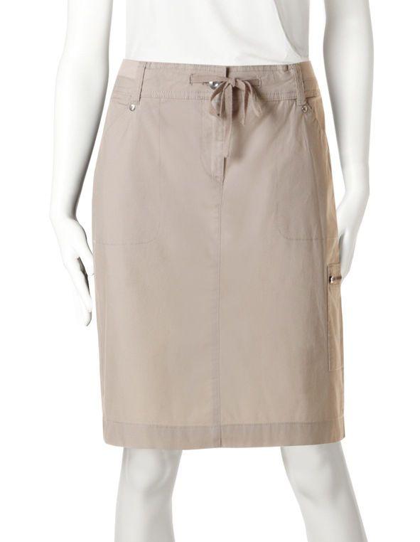 Poplin Drawstring Skirt, Stone