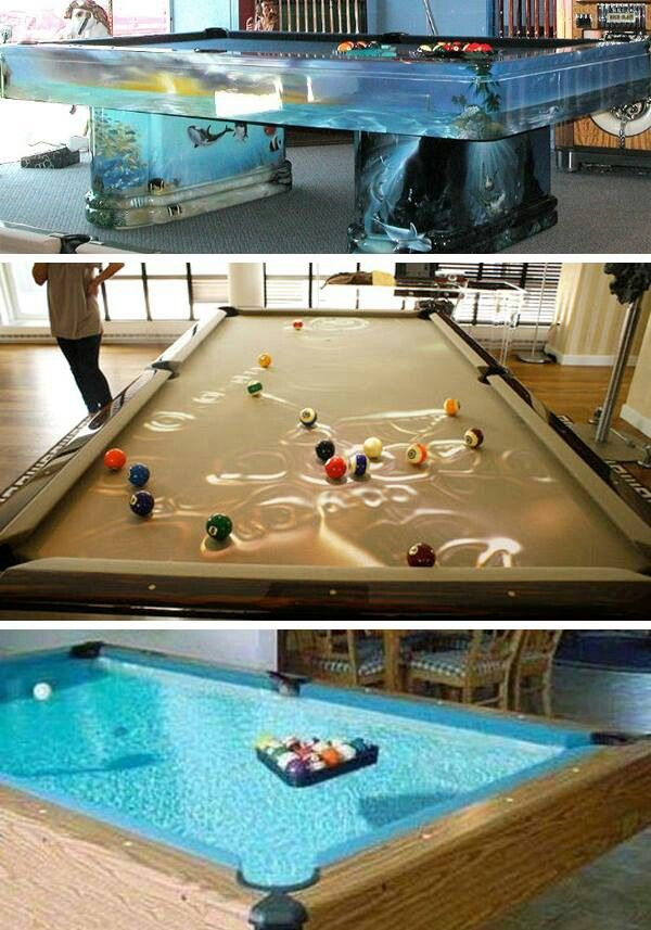 "Awesome water & fish tank.pool table and a ""pool"" pool ..."