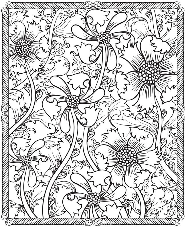 adult coloring pages fun free pattern from dover publications