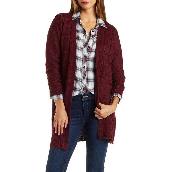 Charlotte Russe Burgundy Cable Knit Duster Cardigan Sweater by ...