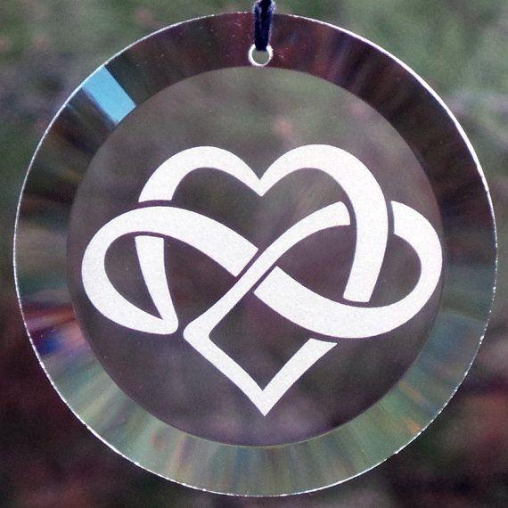 Etched Infinite Heart 4 Glass Ornament Suncatcher Heart Sun