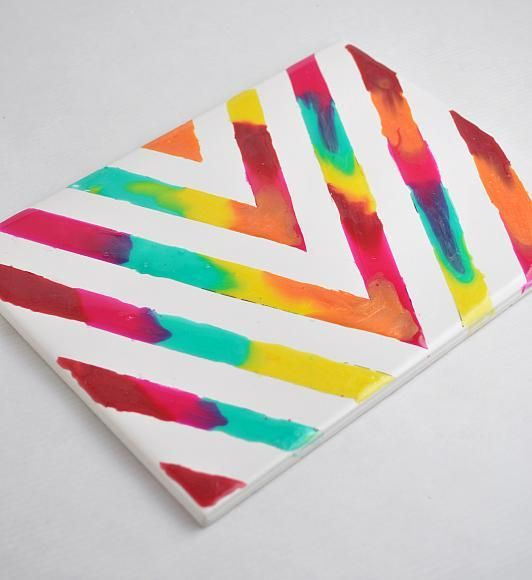 Photo of Crafts – Rainbow Glass Stained Chevron Art Tile
