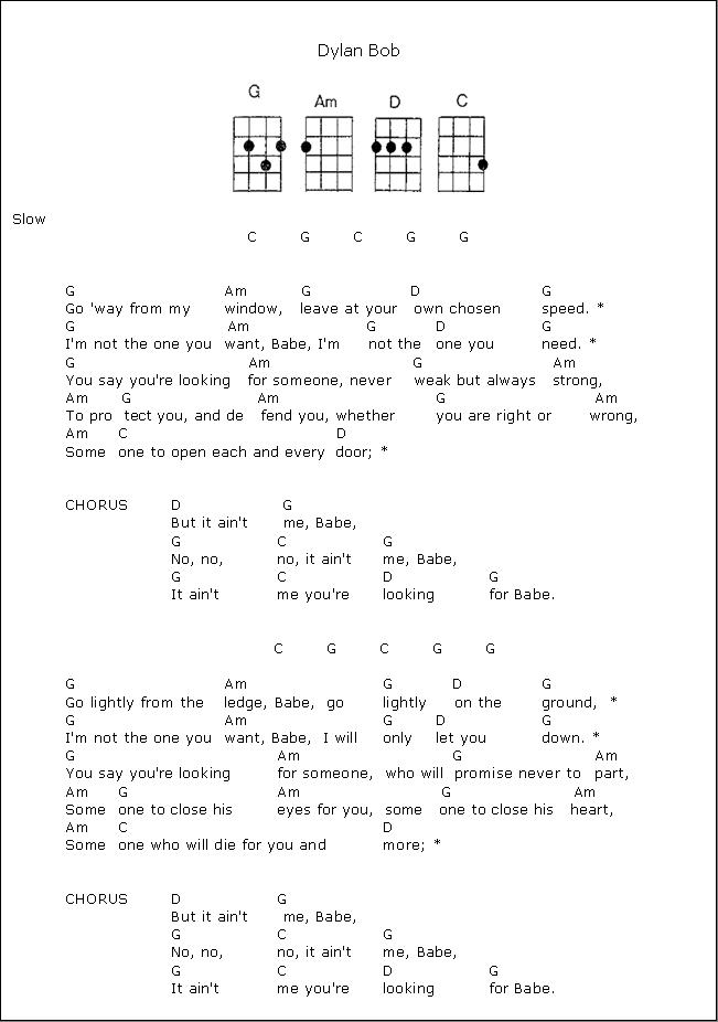 All Music Chords if i ain t got you sheet music : It Ain't Me Babe - Bob Dylan - ukulele chords | Ukulele Sheet ...