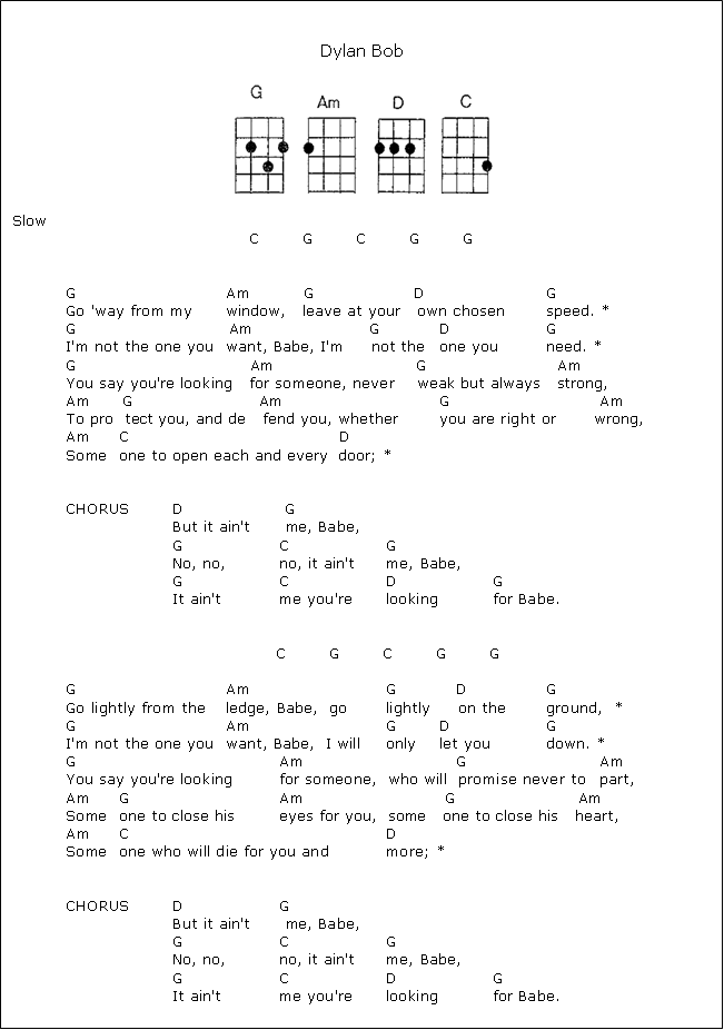 It Ain\'t Me Babe - Bob Dylan - ukulele chords | Ukulele Sheet music ...