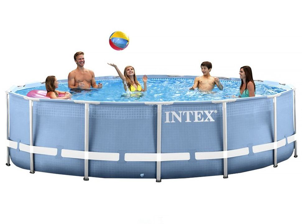 Pools #INTEX #28712 Intex 28712 Rahmen Rund 6503l Blau, Weiß ...