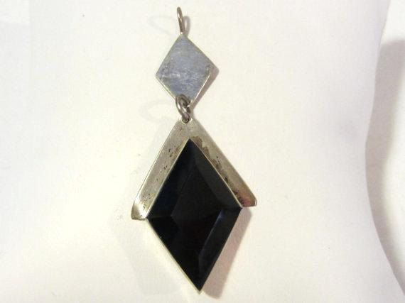 Vintage Mexican sterling silver Black Oynx by wandajewelry2013, $24.00