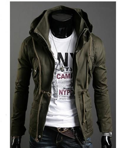 f5e30c31f0a Mens Jackets Fashion Solid Stand Collar Hooded Zipper Drawstring Pockets Cotton  Long Sleeve Men Jacket Discount Online Shopping