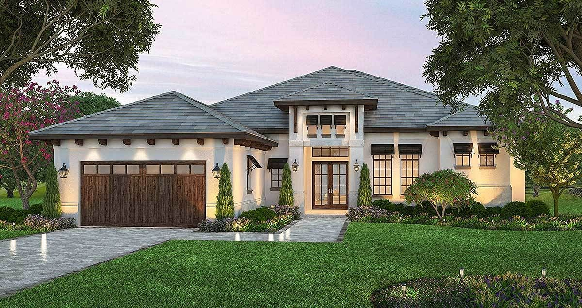 Plan 86061bs Split Bedroom Florida Style House Plan Mediterranean Style House Plans Florida House Plans Mediterranean House Plans