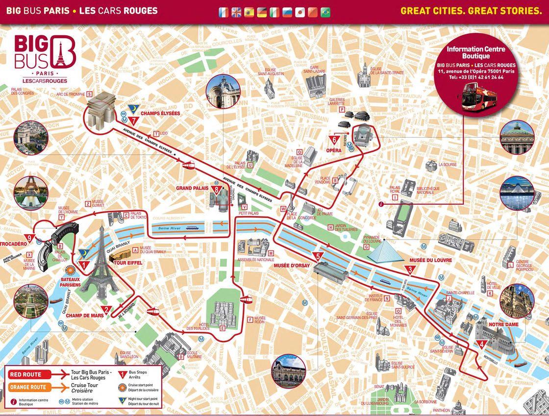 Map Of Paris Hop On Hop Off Bus Tour With Big Bus Les Cars