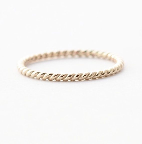 Unique Wedding Bands 14k White Gold Twisted Band