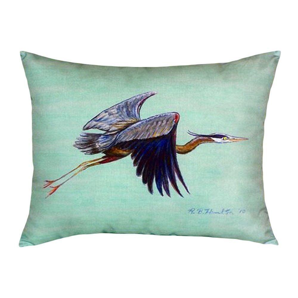 Betsy Drake Flying Blue Heron - Teal No Cord Throw Pillow