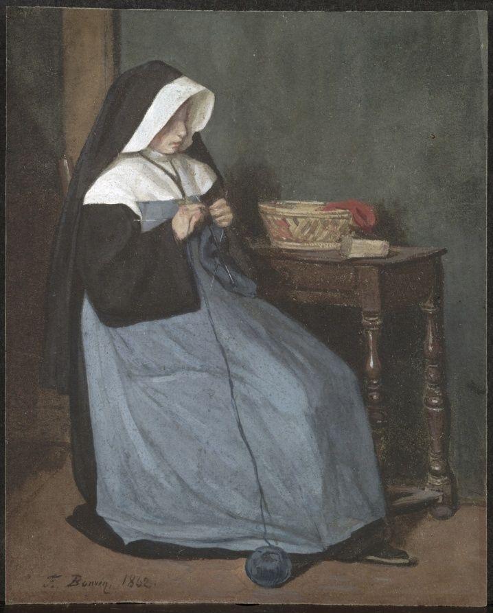 "[Furniture] ""Monja tejiendo, sentada cerca de una mesa"" ""A Nun Seated at a Table…"