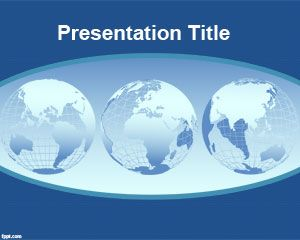 world continents powerpoint template is a blue background with, Presentation templates