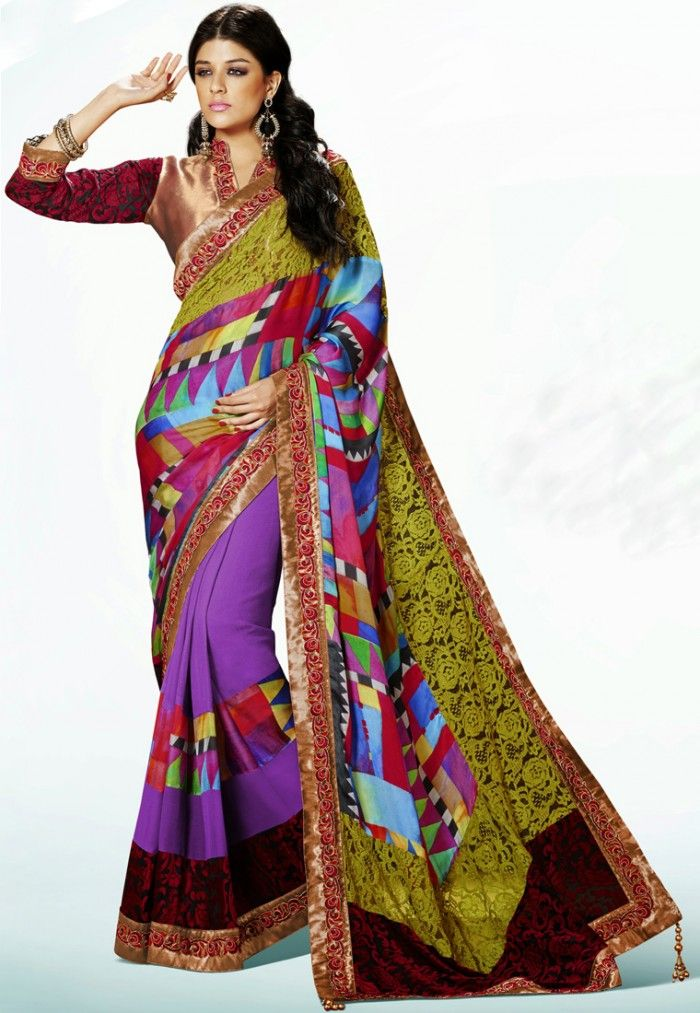 3c3c1a09c1 A captivating MultiColor Net Jacquard & Satin & Faux Chiffon #DesignerSaree  showcasing an abstract print with a floral net pallu and a gota patti  border.