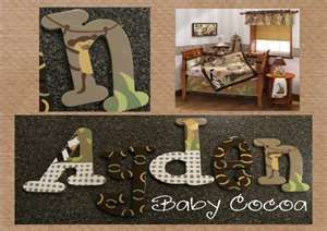Letters for name. can decoupage using animal prints/camo from a scrapbook paper packet.