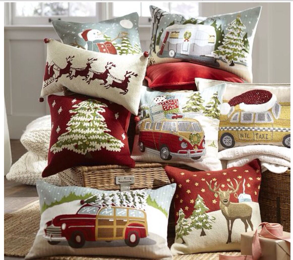 Pottery Barn.Christmas pillows Would love to have all