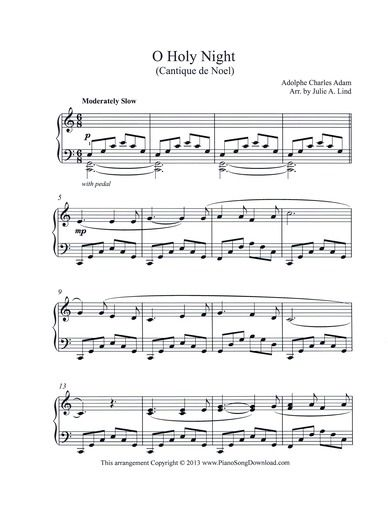 Christmas Piano.O Holy Night A Beautiful Intermediate Level Christmas Carol