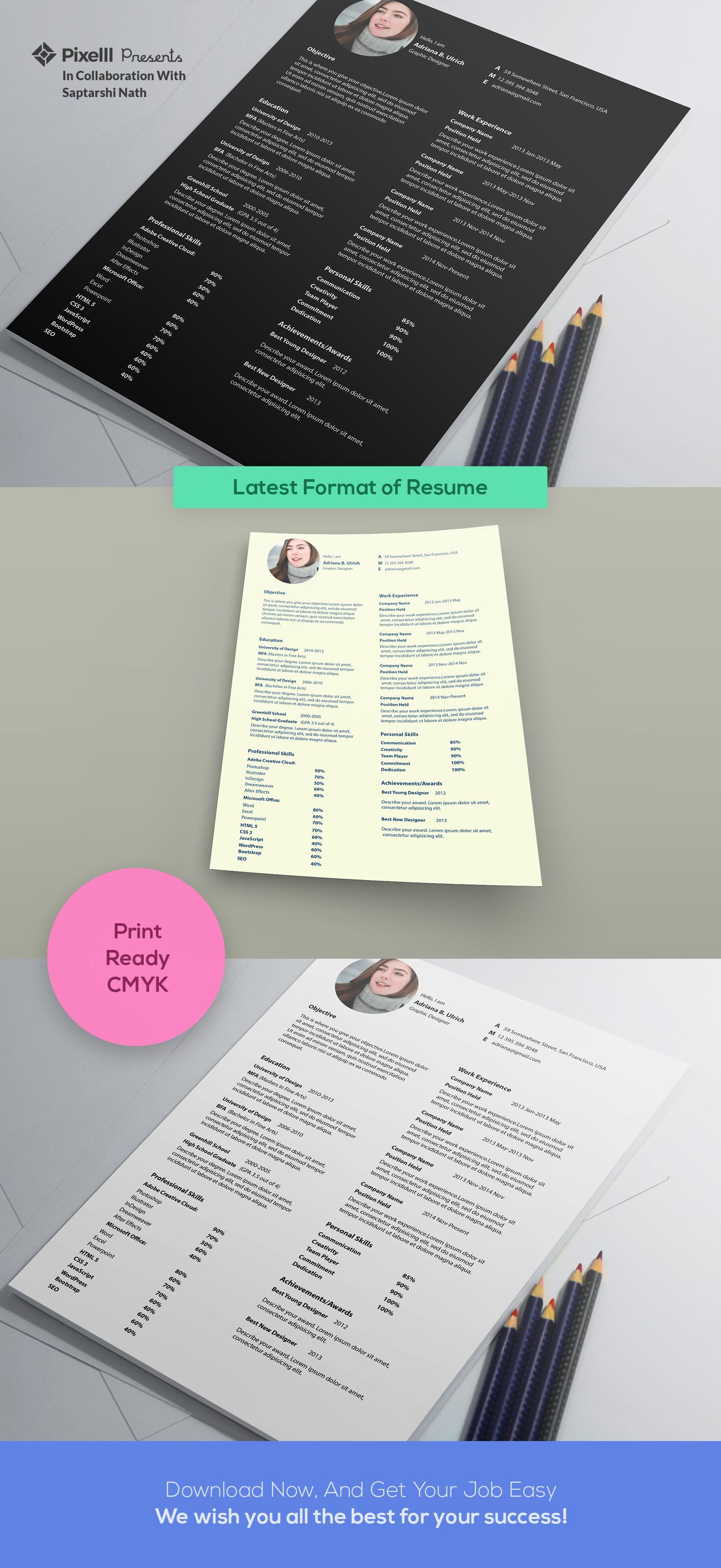 Latest Format Of Resume Psd  Graphic Design Templates And
