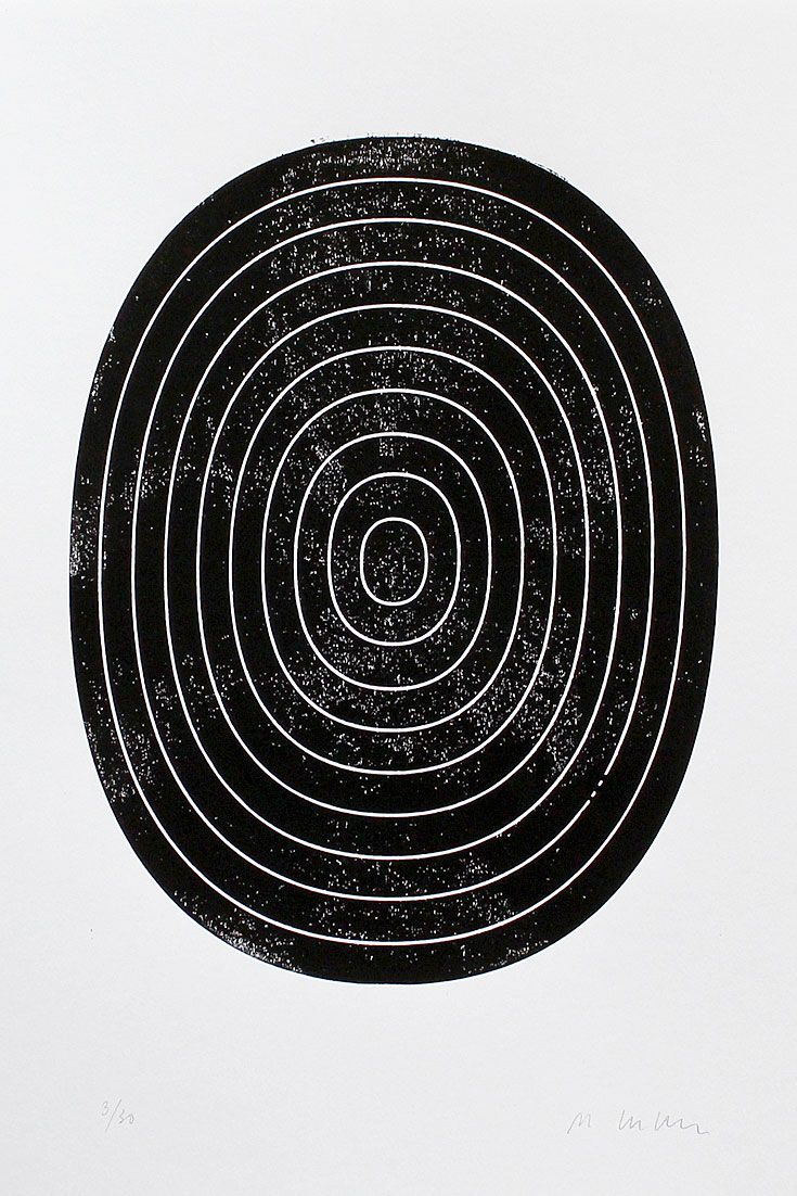 abstract woodblock print of an oval target black and white