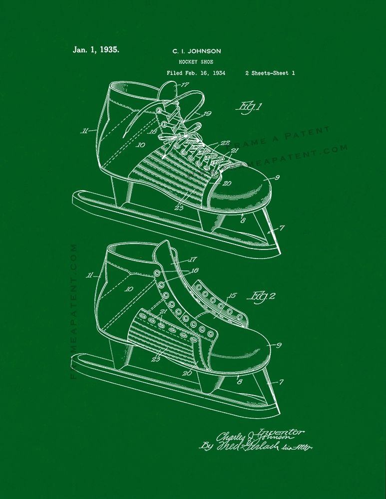 54623f0956588 Hockey Shoe Patent Print - Green (5x7) | Hockey Patent Prints ...