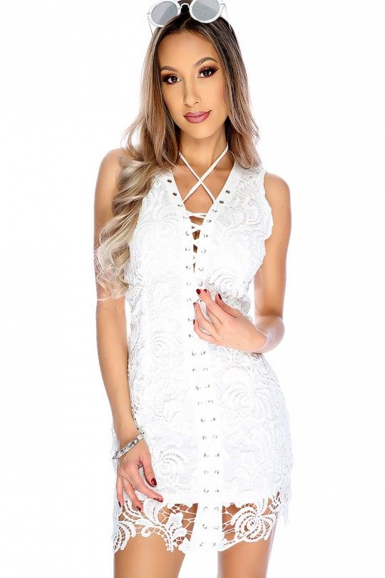 Sexy White Embroidered Crochet Lace Up Sleeveless Party Dress