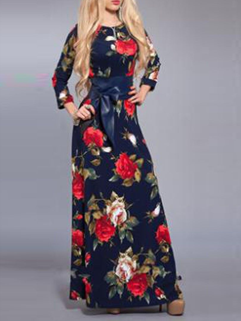 Multicolor floral print bow belt long sleeve maxi dress with chic