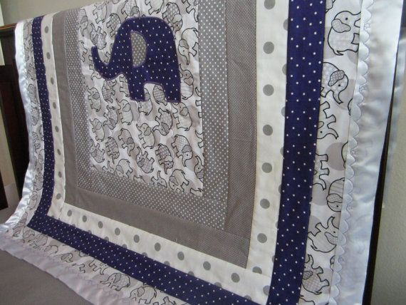 Elephant Crib Quilt Gray And Purple With A Satin By